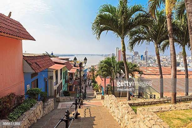 south america, ecuador, guayas province, guayaquil, las penas, cerro santa ana, city view - guayaquil fotografías e imágenes de stock