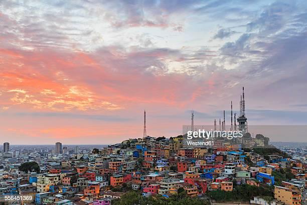 south america, ecuador, guayas province, guayaquil, las penas, cerro santa ana, city view at sunset - guayaquil fotografías e imágenes de stock