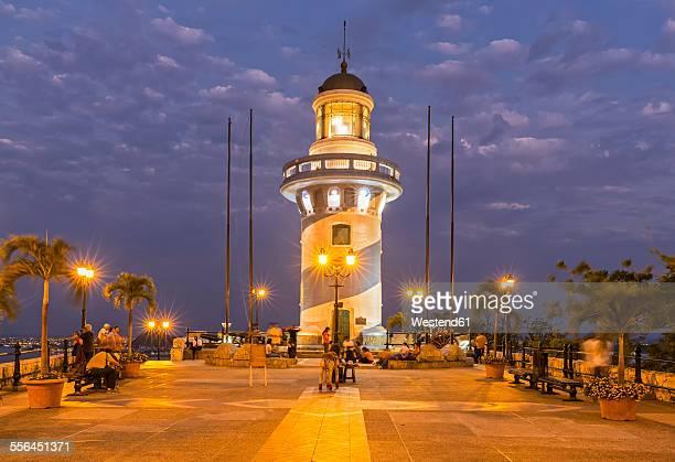 south america, ecuador, guayas province, guayaquil, las penas, cerro santa ana, lighthouse in the evening - guayaquil fotografías e imágenes de stock