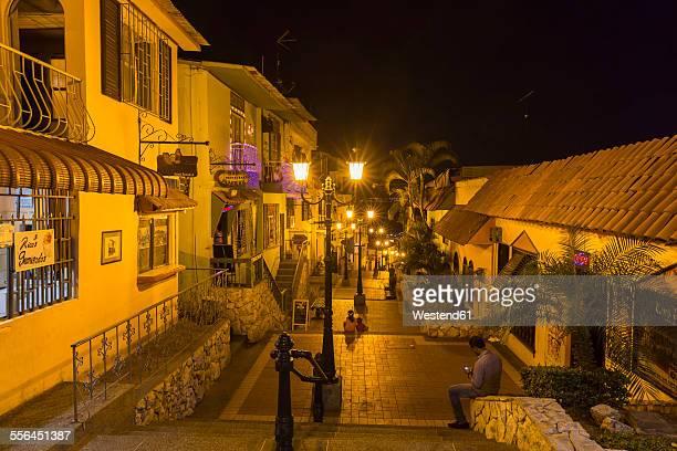 south america, ecuador, guayas province, guayaquil, las penas, cerro santa ana, stairway at night - guayaquil fotografías e imágenes de stock