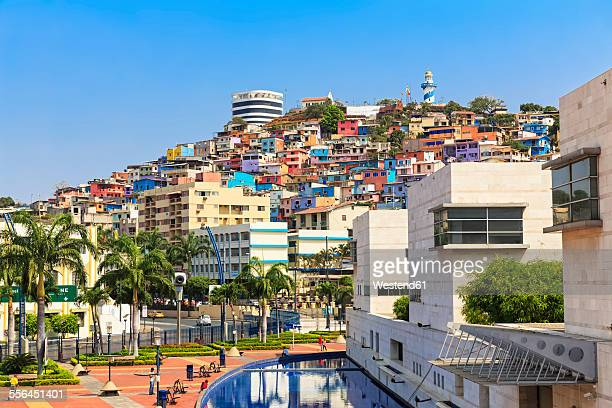 south america, ecuador, guayas province, guayaquil, view to cerro santa ana with light house - ecuador stock pictures, royalty-free photos & images