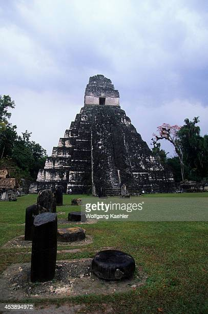 South America Guatemala Tikal Temple Of The Giant Jaguar Sacraficial Altars In Foreground