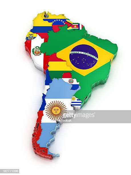 south america map with flags - south america stock pictures, royalty-free photos & images