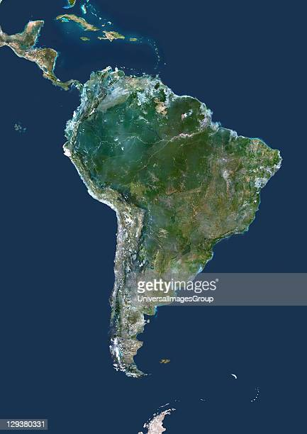 South America True colour satellite image centred on South America North is at top Water is blue arid areas are brown vegetation is green and snow...