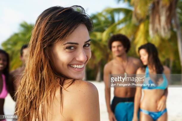 South American friends at beach