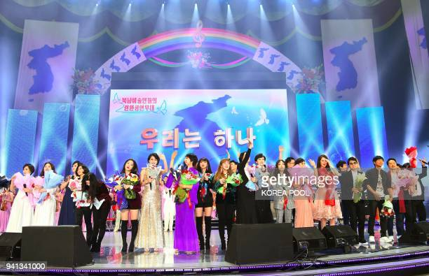 South and North Korean musicians perform during a joint show at the 12000seat Ryugyong Jong Ju Yong Gymnasium in Pyongyang on April 3 2018 Kpop stars...