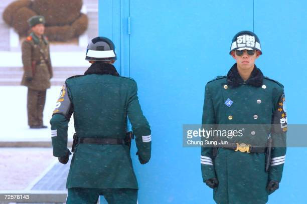 South and North Korean soldiers stand guard January 22 2003 at the truce village of Panmunjom north of Seoul South Korea US Undersecretary of State...