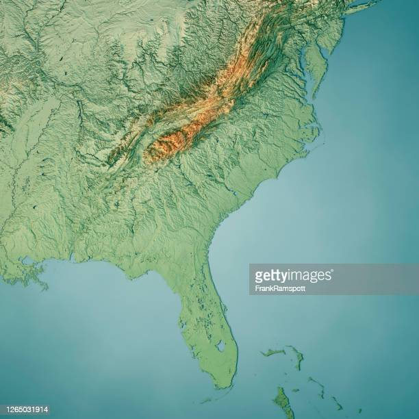 south atlantic us states 3d render topographic map color - georgia us state stock pictures, royalty-free photos & images