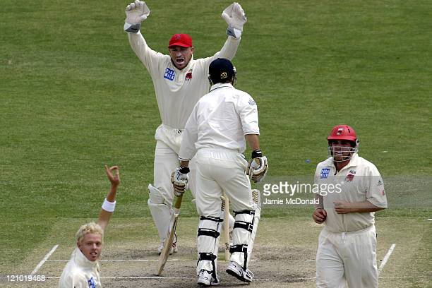 South Australia celebrates the dismissal of England's Ian Jones in the Final Day of their last Tour Match before the beginning of the Ashes next week...