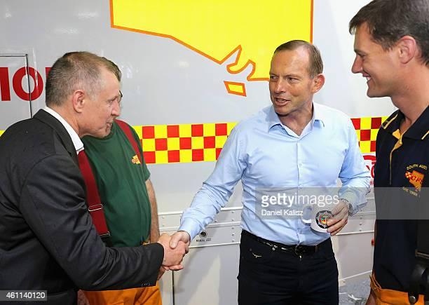 South Australia Premier Jay Weatherill greets Australian Prime Minister Tony Abbott on January 8 2015 in Adelaide Australia Prime Minister Abbott...