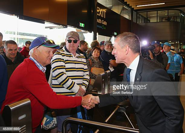 South Australia Premier Jay Weatherill greets spectators before he officially opens the Riverbank Stand during day one of the Second Ashes Test Match...