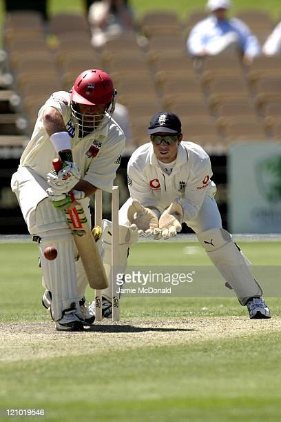 South Australian Captain Darren Lehmann, who was dismissed on 99, batting against England in their Tour Match before the beginning of the Ashes next...