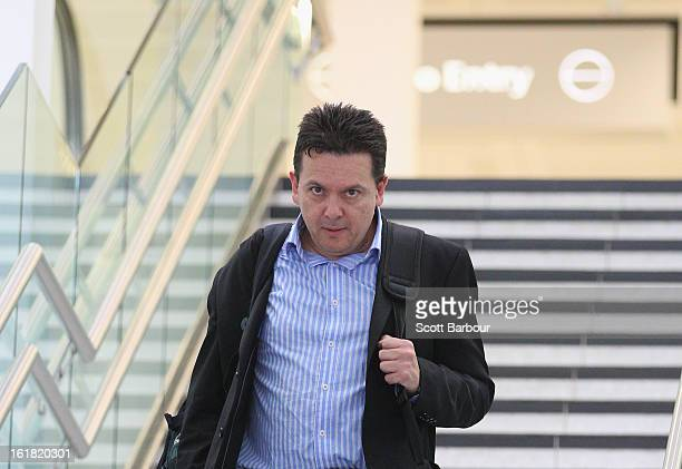 South Australian Federal Senator Nick Xenophon arrives at Adelaide Airport after his deportation from Malaysia on February 17 2013 in Adelaide...