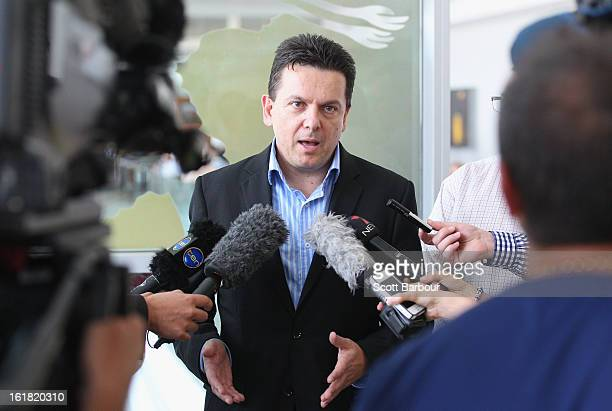 South Australian Federal Senator Nick Xenophon speaks to reporters at Adelaide Airport after his deportation from Malaysia on February 17 2013 in...