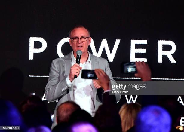 South Australian premier Jay Weatherill during Tesla Powerpack Launch Event at Hornsdale Wind Farm on September 29 2017 in Adelaide Australia Tesla...