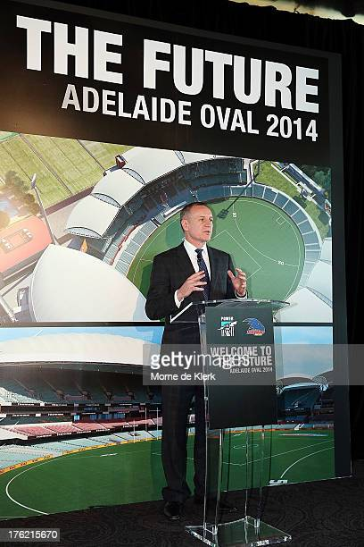 South Australian Premier Jay Weatherill speaks during a media announcement about ticket sales at Adelaide Oval from 2014 on August 12 2013 in...
