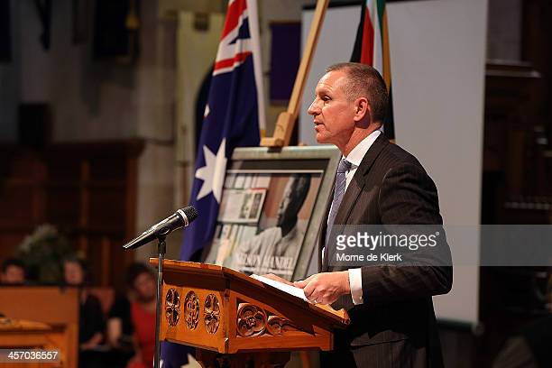 South Australian Premier Jay Weatherill speaks during a memorial service for former South African President Nelson Mandela at St Peter's Cathedral on...