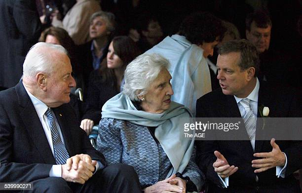 South Australian Premier Mike Rann right with Gough and Margaret Whitlam at Rann's wedding to Sasha Carruozzo in the Botanic Gardens Adelaide 15 July...