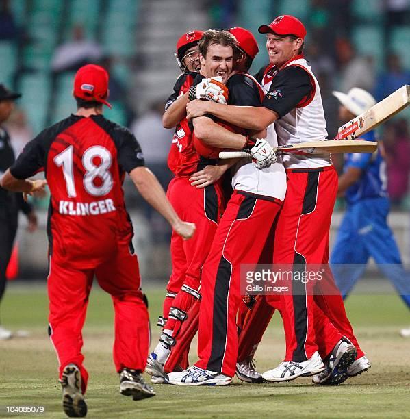 South Australian Redbacks celebrate during the Airtel Champions League Twenty20 match between Mumbai Indians and South Australian Redbacks at Sahara...