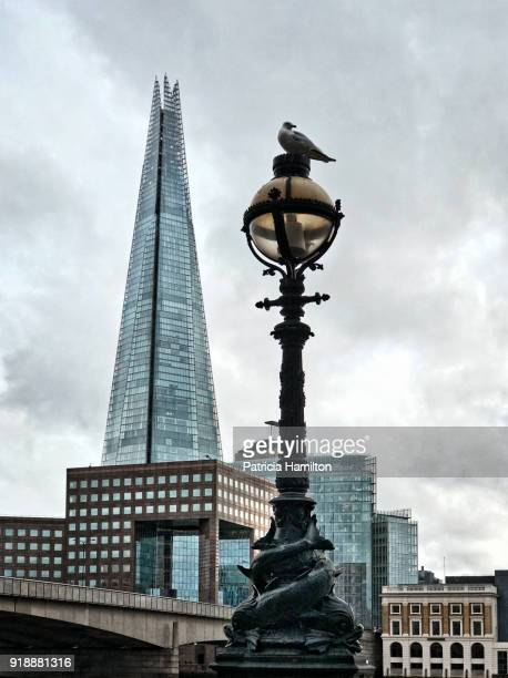 South Bank buildings behind an old fashioned lamppost, London