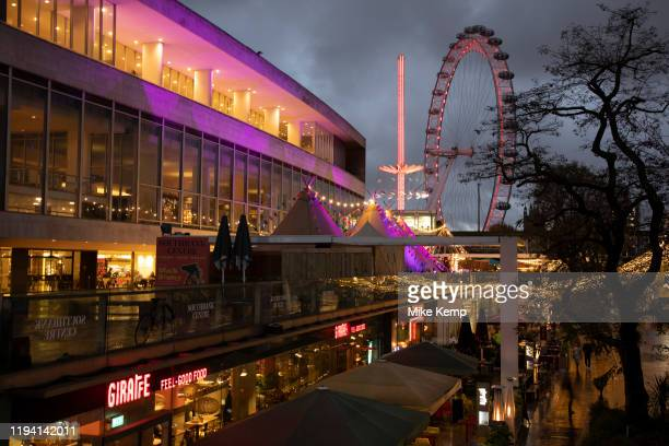 South Bank sunset looking towards the London Eye and Royal Festival Hall on 27th November 2019 in London England United Kingdom The South Bank is a...