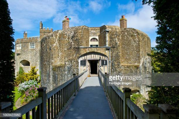 South bastion and bridge over the moat Walmer Castle and Gardens Kent circa 1980circa 2017 Built during the reign of King Henry VIII Walmer Castle is...