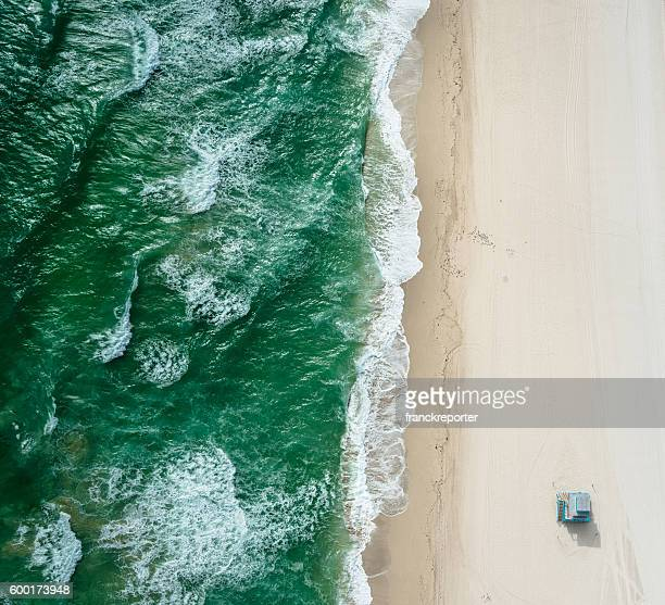 south beach from the air - miami - gulf coast states stockfoto's en -beelden