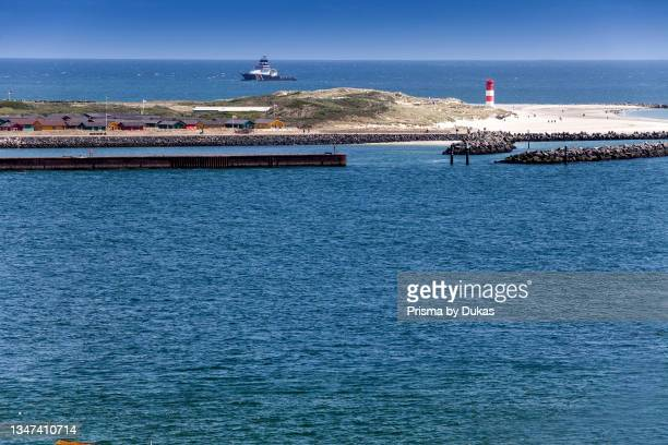 South beach in front of blue sky, Dune Island, Heligoland, North Sea, Schleswig-Holstein, Germany, Europe.