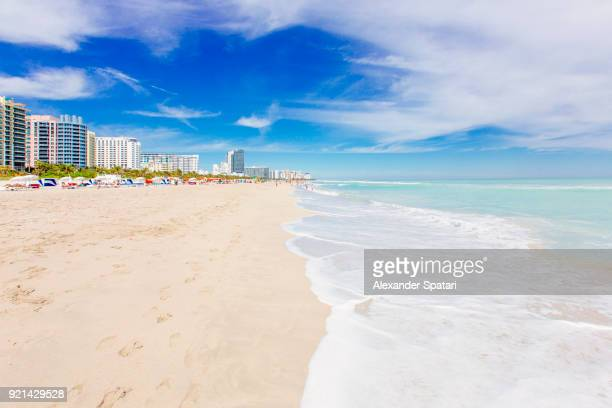 South Beach in Miami with white sand, clear turquoise sea and blue sky, Miami, Florida, USA