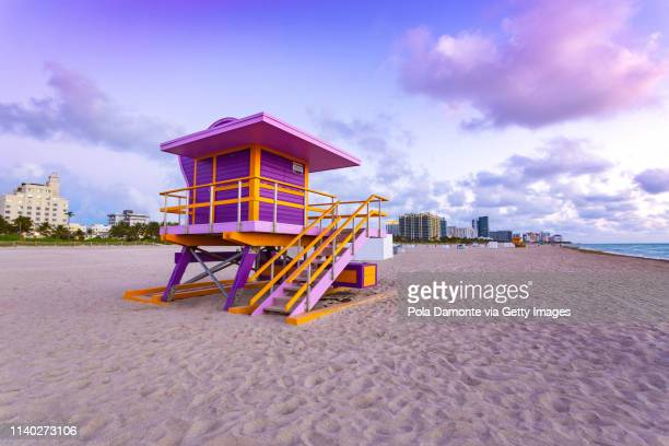 south beach lifeguard tower and beach, miami, florida at sunrise - miami beach stock pictures, royalty-free photos & images