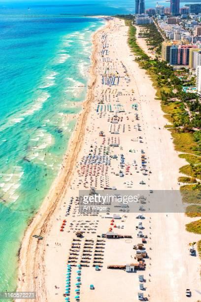 south beach miami aerial - miami beach miami stock-fotos und bilder