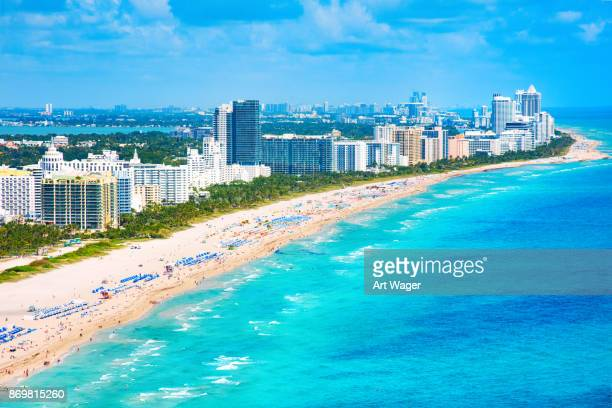 south beach miami aerial - south beach stock pictures, royalty-free photos & images