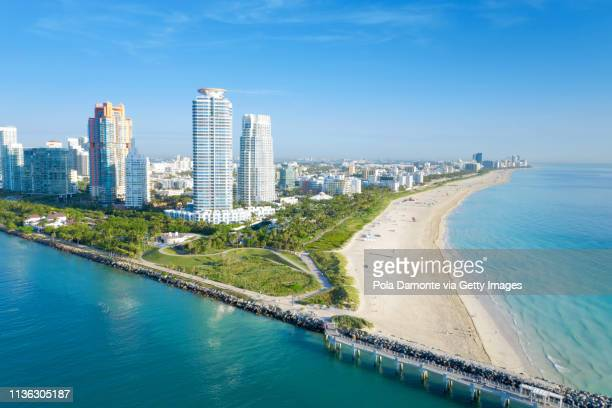 south beach miami from south pointe park, florida, usa - miami beach south pointe park stock pictures, royalty-free photos & images