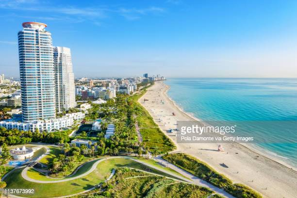 south beach miami from south pointe park, florida, usa - miami foto e immagini stock