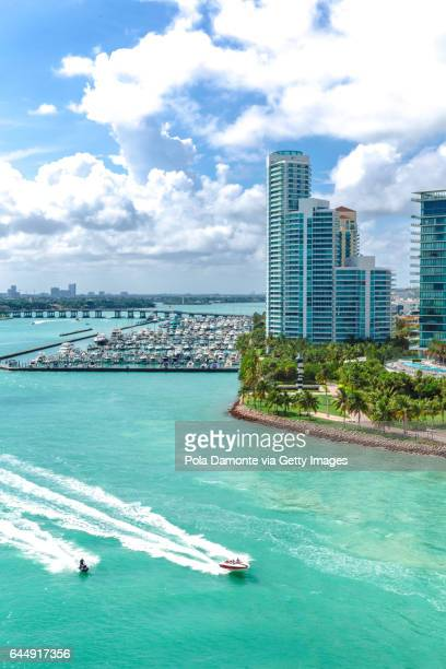 South Beach Miami from the sea with panoramic view of South Pointe Park, Florida, USA
