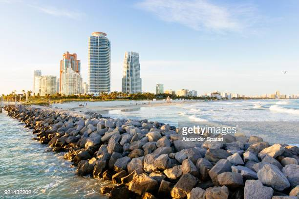 south beach skyline with new modern apartment buildings, miami, florida, usa - miami beach stock photos and pictures