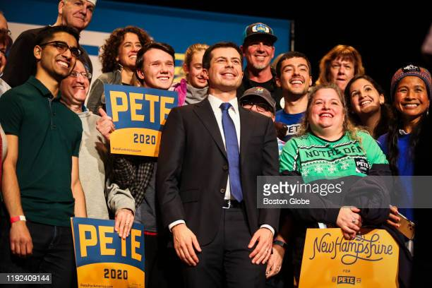 South Bend IN Mayor and US presidential candidate Pete Buttigieg stands for a photo after speaking to a crowd of over 850 people during his sixth...