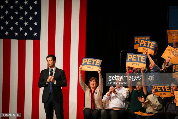 South Bend IN Mayor and US presidential candidate Pete Buttigieg speaks to a crowd of over 850 people during his sixth visit to the Monadnock region...
