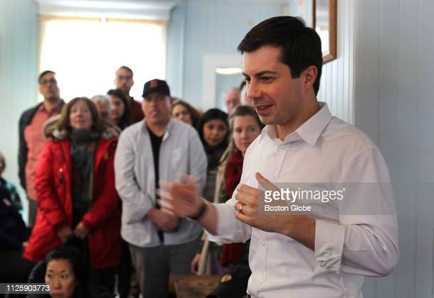 South Bend IN mayor Pete Buttigieg speaks at the Tucker Lodge in Raymond NH on Feb 16 2019 Buttigieg recently launched a presidential exploratory...