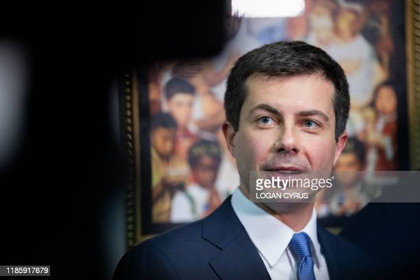 South Bend Indiana mayor and Democratic presidential candidate Pete Buttigieg talks to the press after a Sunday morning service at Greenleaf...
