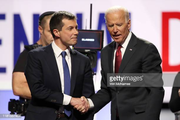 South Bend, Indiana Mayor Pete Buttigieg and former Vice President Joe Biden shake hands after the Democratic Presidential Debate at Otterbein...