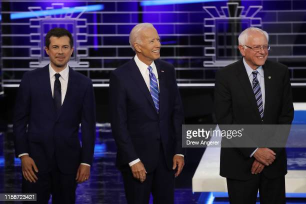 South Bend, Indiana Mayor Pete Buttigieg, former Vice President Joe Biden and Sen. Bernie Sanders take the stage for the second night of the first...