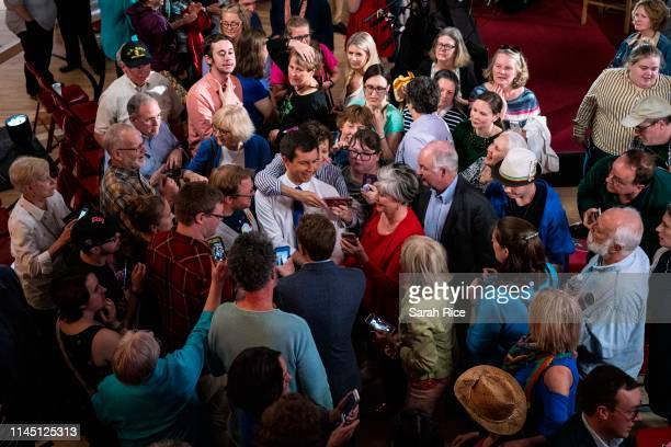 South Bend Indiana Mayor Pete Buttigieg greets supporters after a town hall with Fox News Channel on May 18 2019 in Claremont New Hampshire Buttigieg...