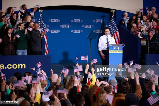 South Bend Indiana Mayor Pete Buttigieg seen speaking during a campaign event after he announced that he's running for presidency of the United...