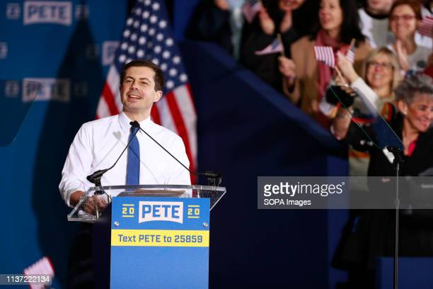 South Bend Indiana Mayor Pete Buttigieg seen speaking during the campaign event after he announced that he's running for presidency of the United...