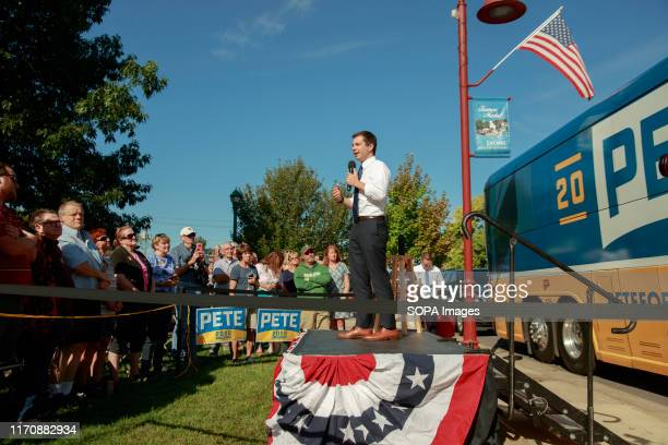 South Bend Indiana Mayor Pete Buttigieg who is running for the Democratic nomination for president of the United States campaigns in Clinton Iowa...
