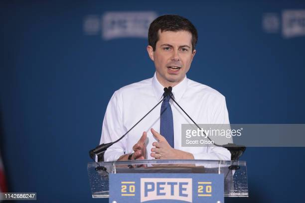 South Bend Mayor Pete Buttigieg announces that he will be seeking the Democratic nomination for president during a rally in the old Studebaker car...