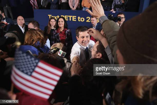 South Bend Mayor Pete Buttigieg greets guests after announcing that he will be seeking the Democratic nomination for president during a rally in the...