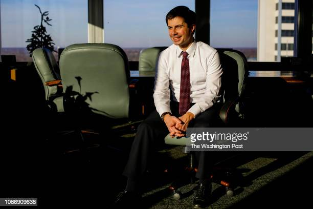 South Bend Mayor Pete Buttigieg poses for a portrait at his office on Tuesday December 18 2018 in South Bend Indiana Buttigieg a two term mayor who...