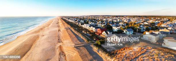 south bethany beach. delaware.  dune line as seen from a drone - bethany beach stock photos and pictures
